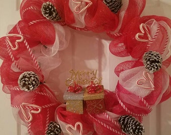 Pinecone and Candy Cane Wreath