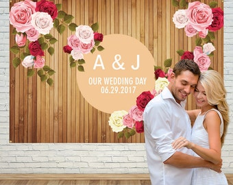 wedding backdrop,rose Backdrop,flower Backdrop,wood backdrop,custom backdrop,wedding party,Valentine's Day