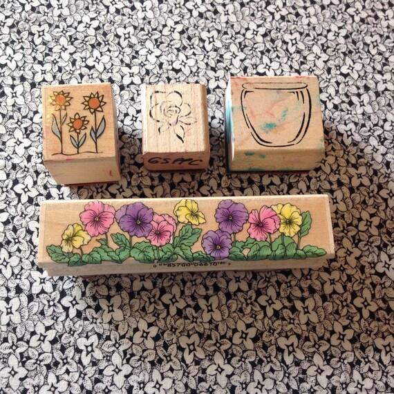 Vintage Stamps Of Flowers, Flower Pot For Scrapboooking