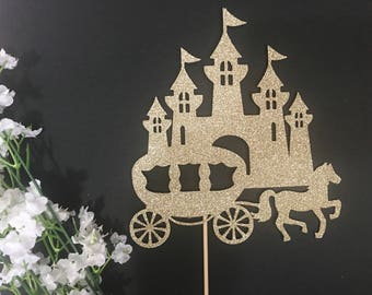Princess Castle Cake Topper /Castle Cake Topper/Princess Cake Topper/Princess Party Decor/ Princess/Horse and Carriage Cake Topper