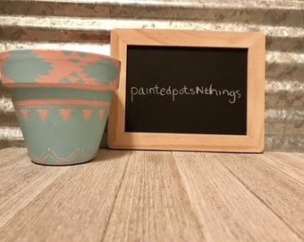 Pink and Blue Aztec Theme Hand Painted Flower Pot