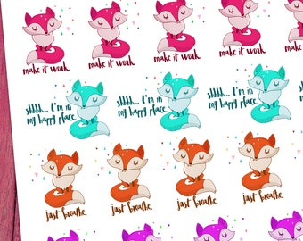 Just Breathe / Frances Fox / Decorative Planner Stickers, Make it Work, Happy Place, I Got This, Inspirational Planner Stickers, Fox Sticker