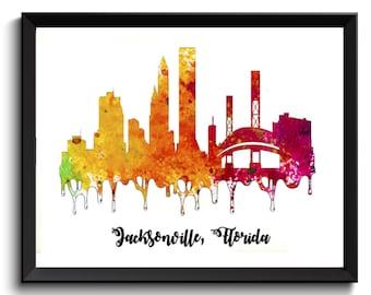 Jacksonville Watercolor Art Print - Florida Watercolor Art, FL Art Print, FL Poster, Jacksonville Poster, Jacksonville Cityscape, Skyline
