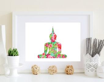 Buddha Art Print - Buddha poster, Budha art, Buddha wall decor, Printable Buddha art, Download buddha, digital buddha, floral budha art