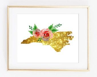 NC wall art, North carolina art, nc art print, nc gold art, nc floral gold, nc printable, nc sparkle, golden nc art, nc art download