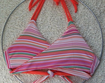 Reversible bikini top/ wrap around bikini top/ cross over bikini top/  orange striped bikini top/ plus size bikini crop top xxs-3xl.