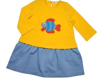 Size 3T Baby Dress•Yellow Long Sleeved Dress•Girl Dress• Sweatshirt Dress • Toddler Dress •  Girls' Clothing • Birthday Dress • Small Fish