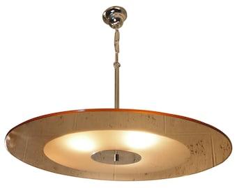 70 Pendant Hanging Light PETITOT Mirrored Chrome Art Deco Modernist French Royere Genet Michon Arlus Streamline Sandblasted Lamp Chandelier