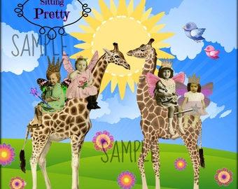 Giraffe, Collage Altered Art Ephemera Altered Art, Instant Download, Digital Original Sheet