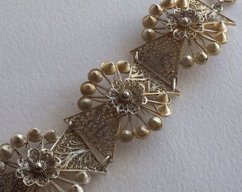 Beautiful Genuine Vintage Delicate Filagree Silver Bracelet with Light Gold Wash
