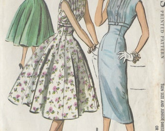 "1957 Vintage Sewing Pattern B31 1/2"" DRESS (R487)  McCalls 4009"
