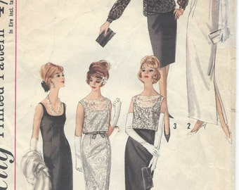 1964 Vintage Sewing Pattern B34 DRESS, OVERBLOUSE & TOP (R828) Simplicity 5698