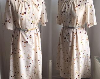 Vintage 1960s Polka Dot Linen Dress - UK Size 14/US Size 10