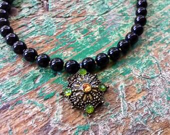 Vintage citrine antique pendant ladies beaded necklace