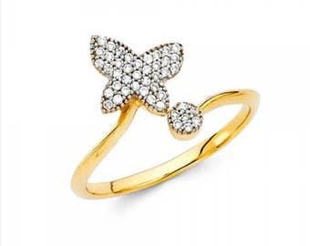 14K Solid Yellow Gold Cubic Zirconia Butterfly Ring - Polished Finger Band