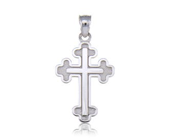 10K Solid White Gold Budded Cross Pendant - Crucifix Polished Necklace Charm