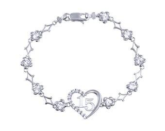 10K Solid White Gold Cubic Zirconia Heart Sweet 15 Bracelet - Flower Quinceanera Anos Birthday