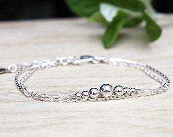 Bracelet beads degraded on chain 925 Silver double