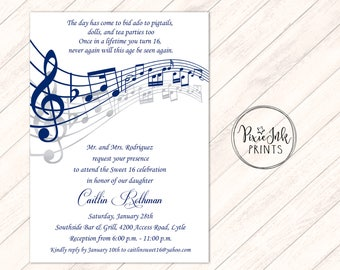 Music Notes Invitation Musical Party Sheet Note Sweet 16