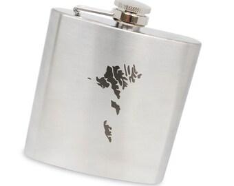 Faroe Islands 6 Oz Flask, Stainless Steel Body, Handmade In Usa