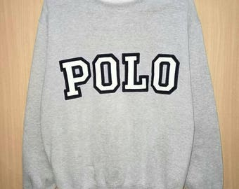 Rare!! Vintage Polo Ralph Lauren Big Spellout Embroidery Pullover Jumper Sweatshirt