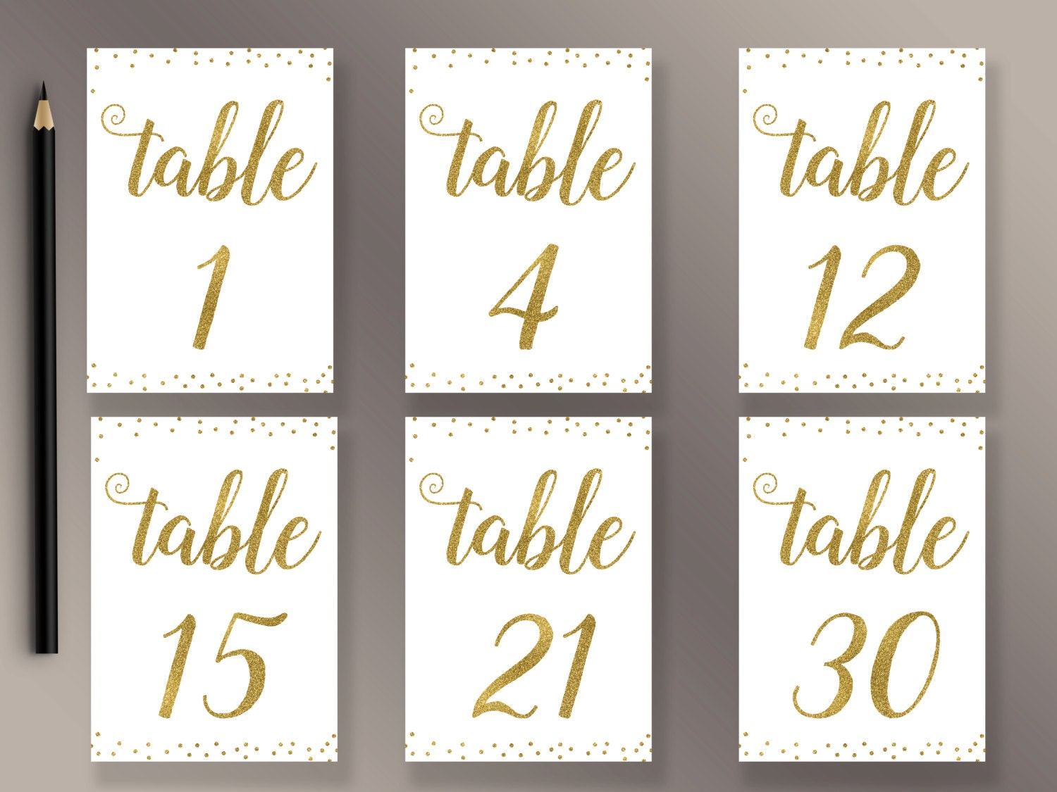 Wedding Table Numbers 1-30 Printable Gold Confetti Table