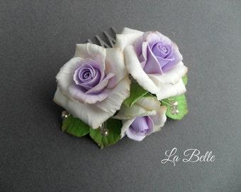 Comb with roses from polymer clay. Flowers polymer clay hair accessories, wedding accessories, evening jewelry, handmade