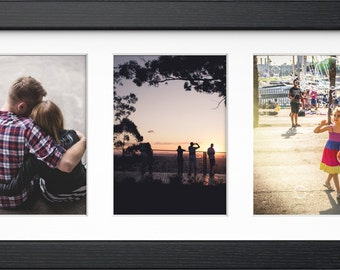 "Multi Aperture Picture Photo Frame For 3 Images Of 7""X5"" or 6""x4"" With Quality White Mount Available in 12 Colours Modern Style Wall Hanging"