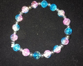 Handmade Pink and Teal Stretch Bracelet