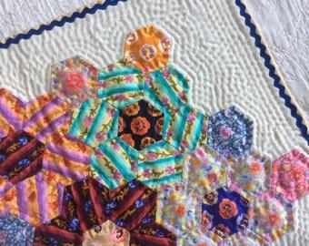 Mini patchwork cotton quilt, doll's quilt, grandmother's garden design with Kaffe Fassett fabrics