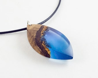 Olive wood and blue resin  necklace. Gift Necklace.