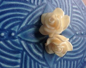vintage rose earrings, white rose earrings