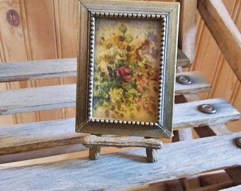 Miniature floral picture and easel 1970s