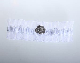 White silk garter with double sheer chiffon ruffle