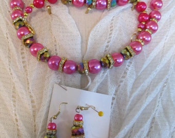 Necklace, bracelet, and earrings set