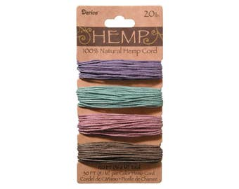 Hemp Cord Set, 4 Colors, Assorted Vintage Colors, 20lb Weight, 30' each Color