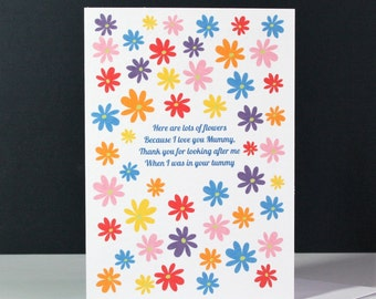 Flowers Mother's Day Card, I  Love You Mummy Mother's Day Card, sweet mother's day card, newborn mother's day card, baby mother's day card,