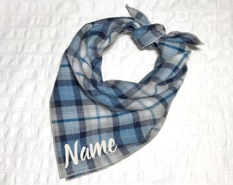 Personalized Plaid Dog Bandana - Benji // Dog bandana // Personalized Bandana // Pet Bandana // Flannel Dog Bandana // Winter Dog Bandana