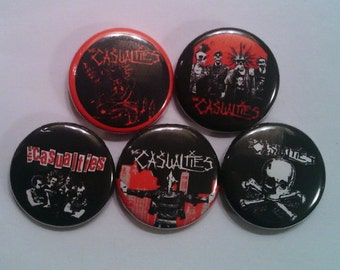 "5 x The Casualties 1"" Pin Button Badges ( street punk new york hardcore )"