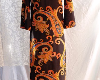 Vintage,1960s,60s, polyester, larger sizing, maxi dress,paisley,bright,bell sleeves,