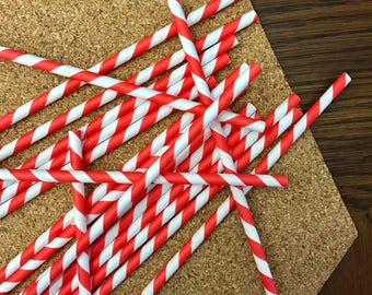 Red Striped Paper Straws set of 15 pcs