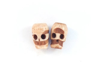 2x HANDCARVED SKULL BEADS from Peru Vintage horn beads reclaimed salvage bead Unique unusual ooak one of a kind ethnic tribal
