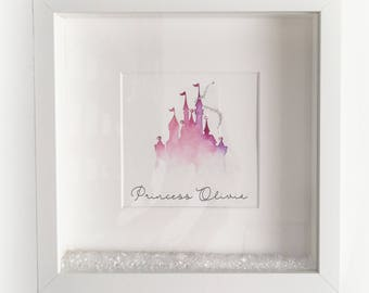 Princess Painting, Disney Castle, Personalised, Little Girls Nursery, Room Decor