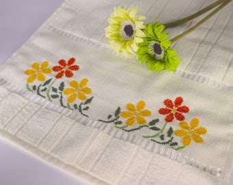 SALE - Cross Stitched Towel, Bath Towel, Kitchen Towel, Hand Towel, Tea Towel