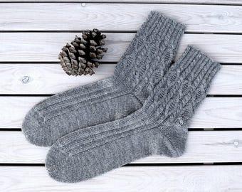 Wool mens socks Cable knitted socks Mens winter socks Warm boot socks Hand knitted mens socks Gift for men