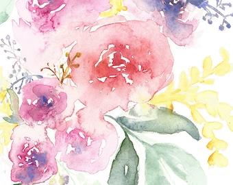 Watercolor Flower Painting, Flower bouquet, Mother's day, Watercolor Floral, Watercolor Painting, Floral Painting, Flower Painting
