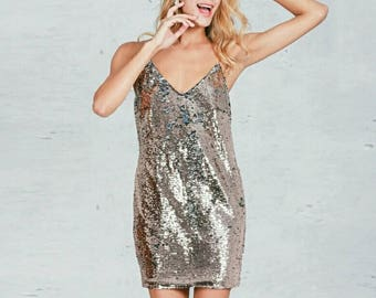 Sequined Rose Gold & Silver Party Dress