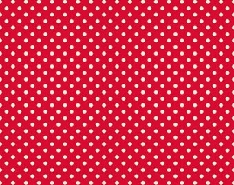 Red Dot Fabric - Fly a Kite Red Dot Fabric - Small Red and White Polka Dot Cotton