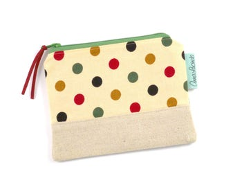 Polka Dot Handmade Coin Purse, Gift for Her, Slim Wallet, Small Zipper Wallet, Women's Wallet, Coin Pouch, Card Holder, Thin Wallet