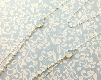 Necklace 2 rows in 925 sterling silver, opalite and freshwater pearls